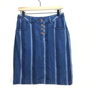 Maeve Anthropologie Multi Stripe Denim Skirt Sz 6